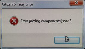 CitizenFX Fatal Error - error parsing components.json